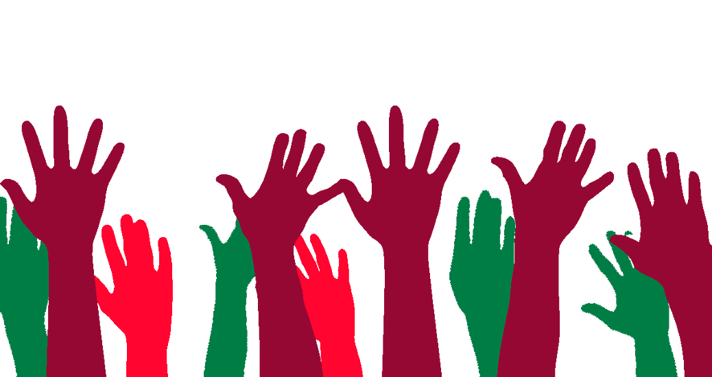 raised hands green red
