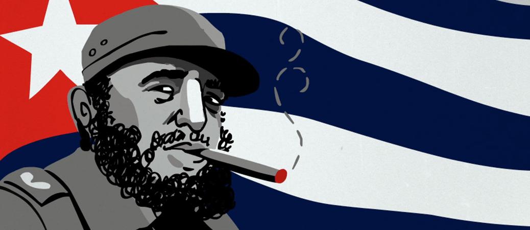 fidel castro bandiera cuba sigaro