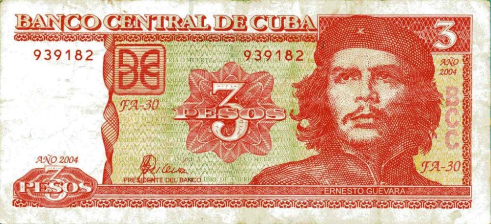 tre pesos cubani che guevara soldi moneta cuba