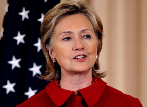 Secretary of State Clinton speaks during a luncheon in honor of Indian PM Singh