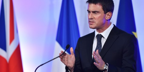 French Prime Minister Manuel Valls delivers a speech at the Guildhall in London, on October 6, 2014. French Prime Minister Manuel Valls on Monday defended his Socialist government against a stream of criticism of its economic and business reforms during a visit to London. AFP PHOTO/BEN STANSALL (Photo credit should read BEN STANSALL/AFP/Getty Images)